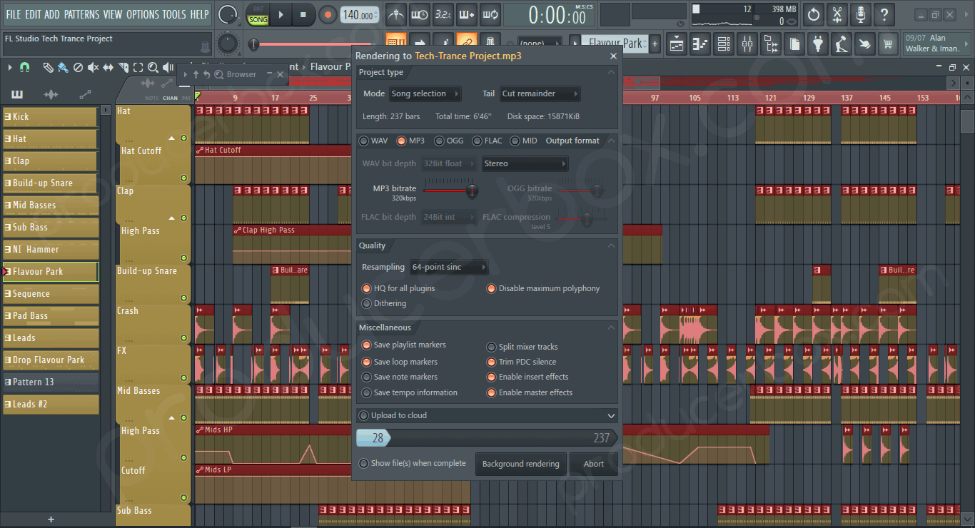 Preview screenshot of FL Studio Tech Trance Project