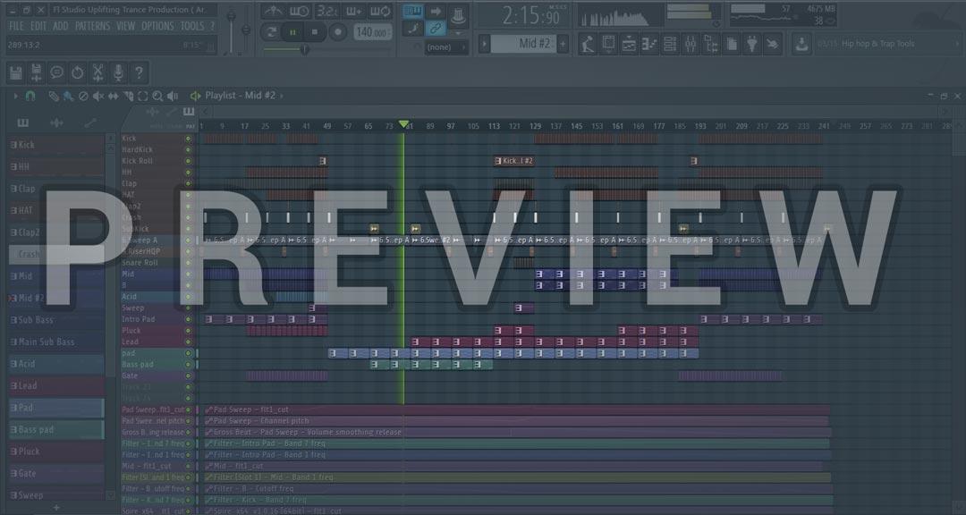 Preview Screenshot of FL Studio Uplifting Trance Production (Armin Van Buuren Style)