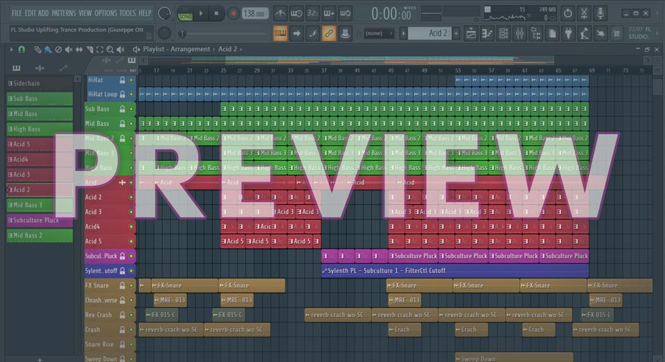 Image screenshot of FL Studio Uplifting Trance Production (Giuseppe Ottaviani Style)