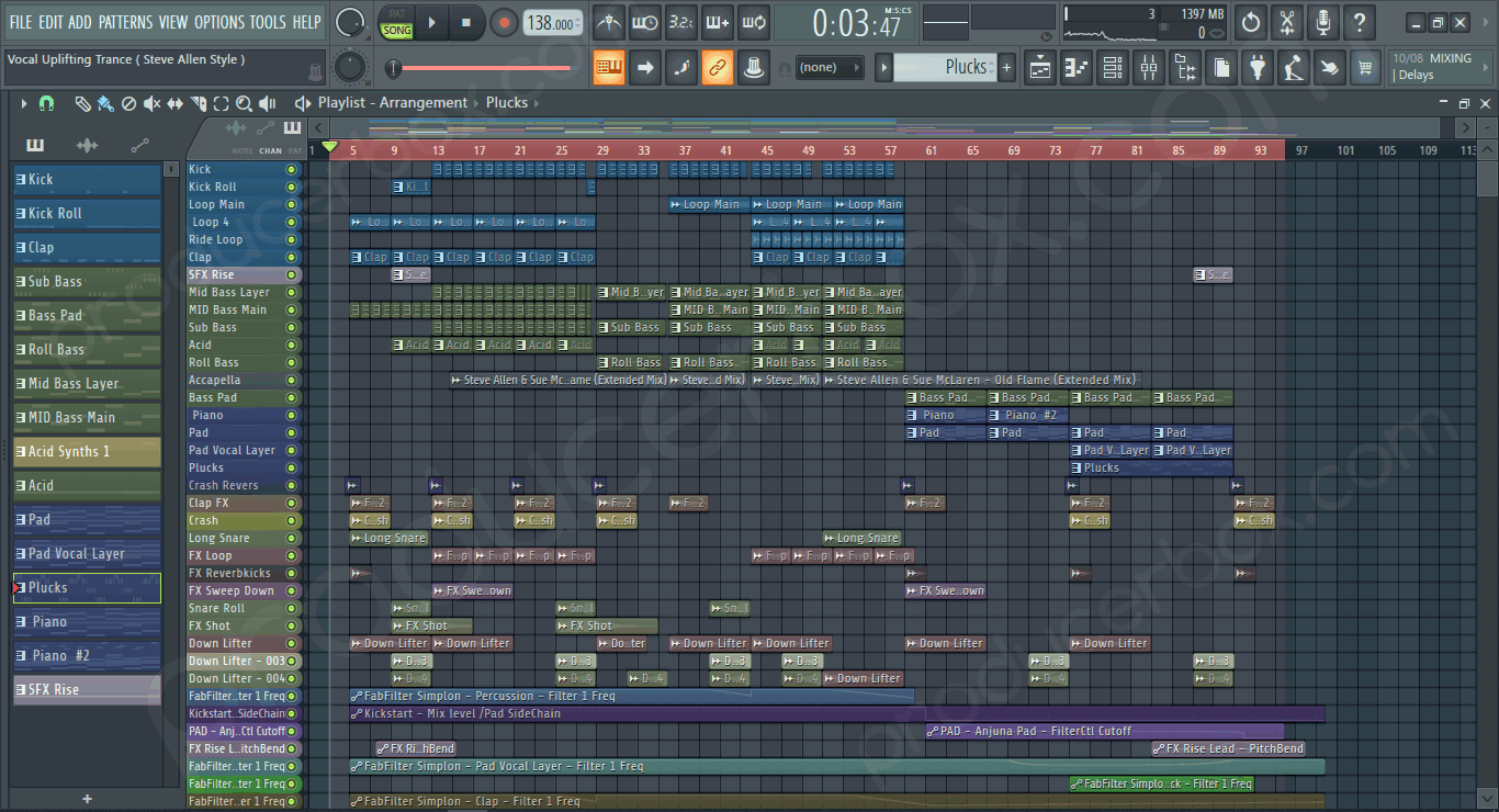 Screenshot of FL Studio Vocal Uplifting Trance Vol. 1 (Steve Allen Style)