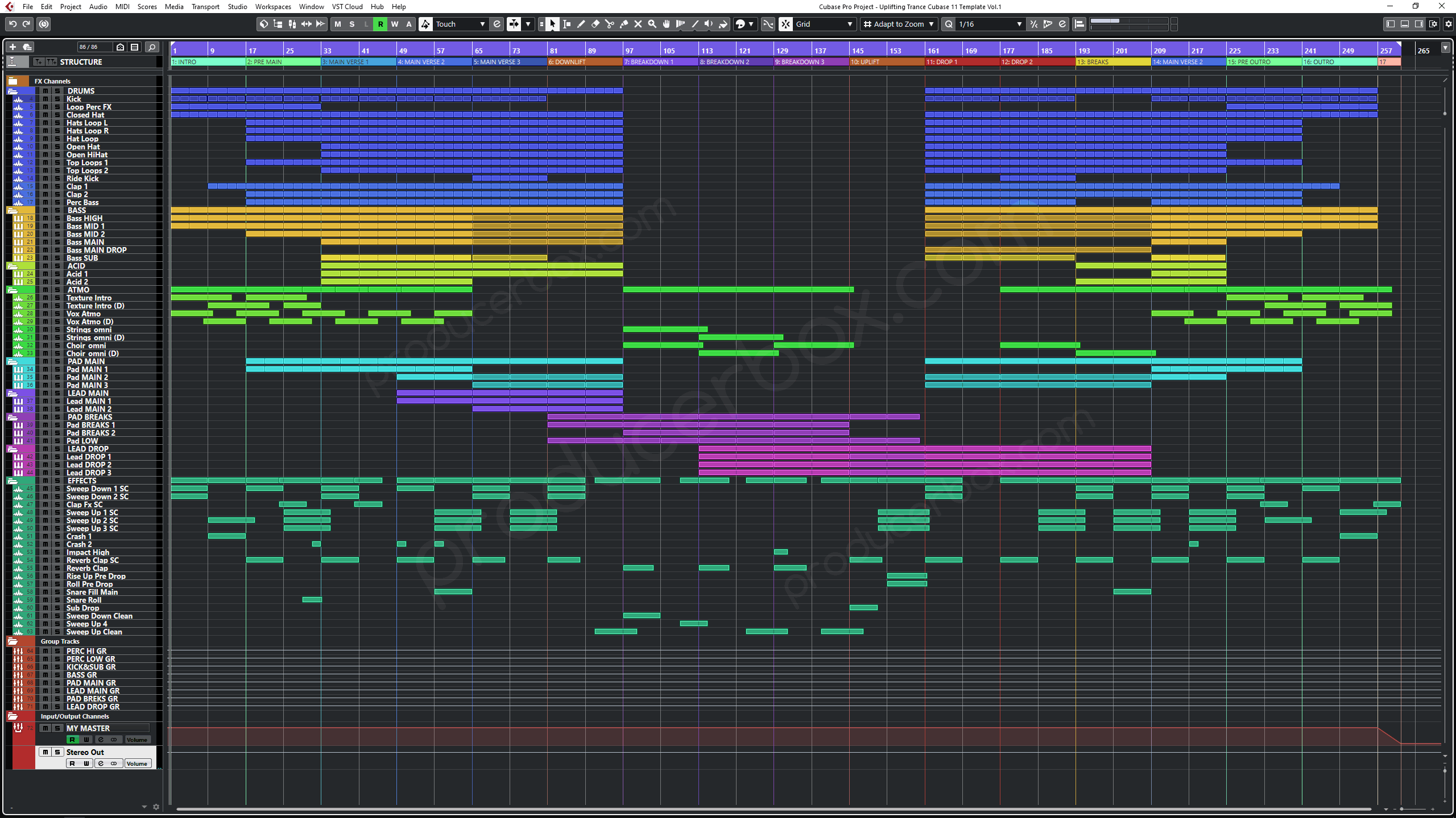 Preview Screenshot for Uplifting Trance Cubase 11 Template Vol. 1