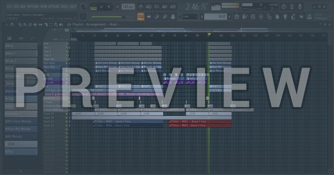 Screenshot of FL Studio Short Remake Of Selu Vibra - Divine
