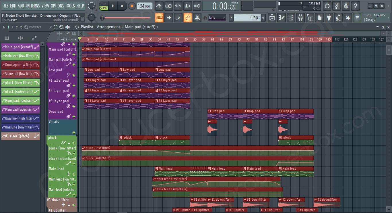 FL Studio Short Remake Of Dimension - Origami (Flashover Recordings)