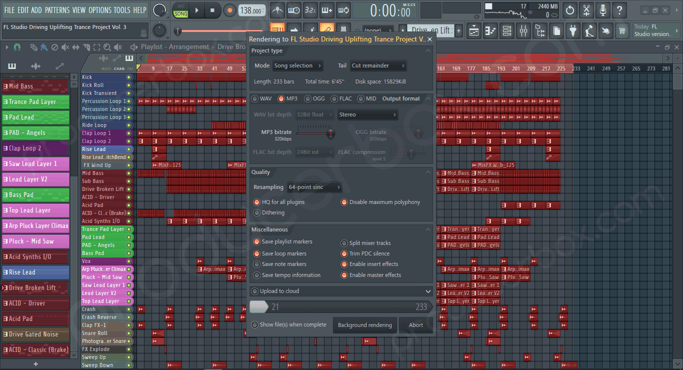 Screenshot preview of FL Studio Driving Uplifting Trance Project Vol. 3 (FSOE Style)