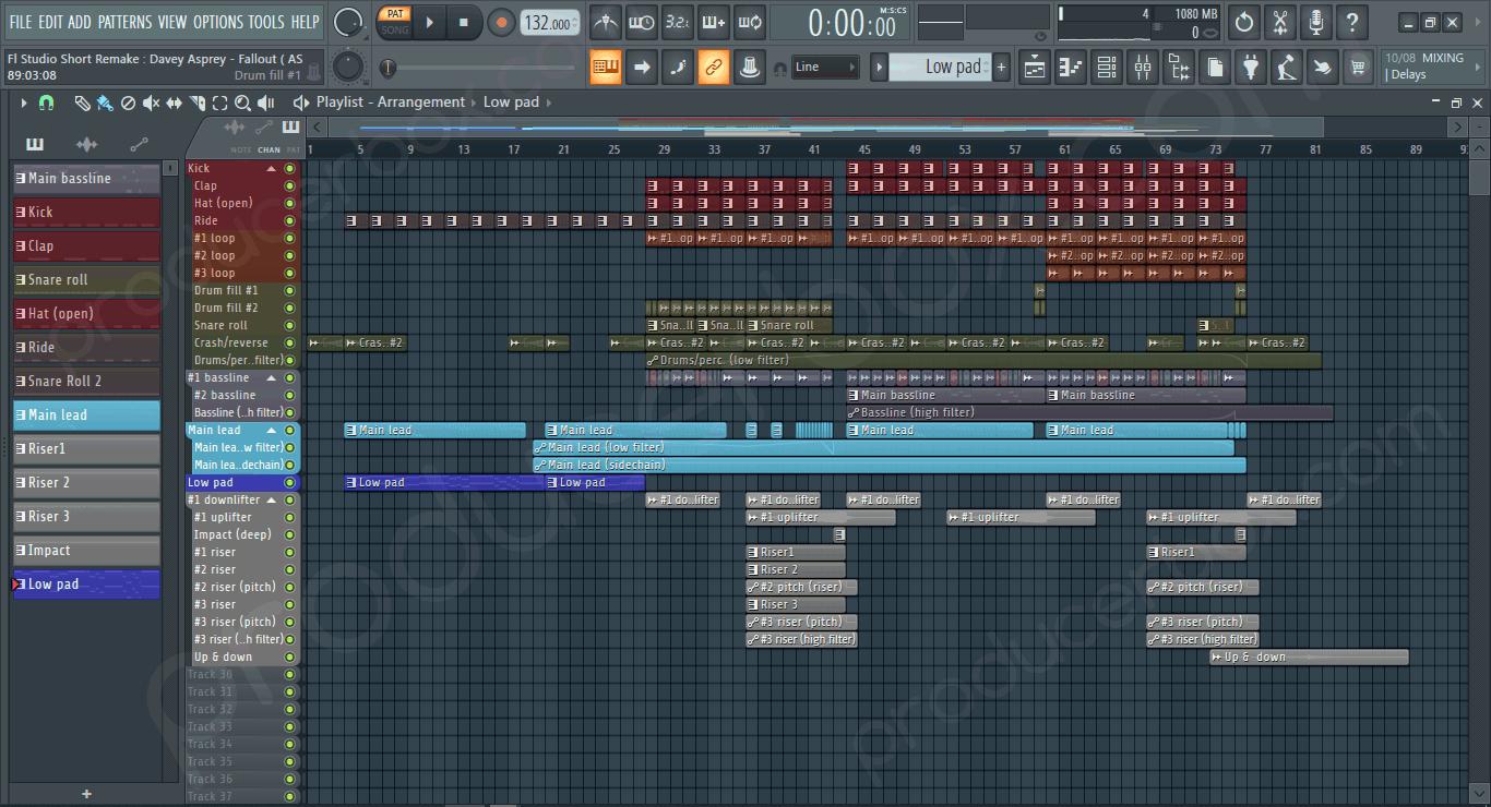 Screenshot previeew of FL Studio Short Remake Davey Asprey - Fallout (ASOT Style)